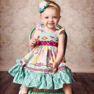 Handmade Toddler Girl Dress and Headband 18 month